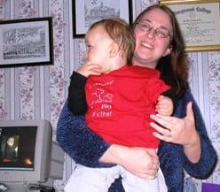 Mom holding son