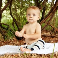 Baby boy outside in cloth diaper