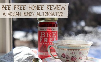 Jar of Bee Free Honey and cup of tea (caption: Bee Free Honee: a vegan honey alternative)