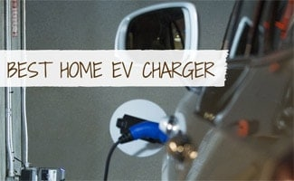 Electric car being charged in home garage