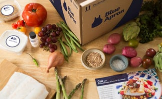 Blue Apron box and contents on counter top