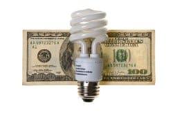 Lightbulb with hundred dollar bill