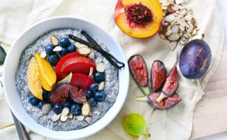 Chia Seeds in bowl with fruit