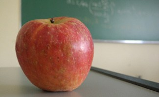 Classroom with apple