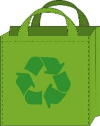 Green bag with recycle symbol
