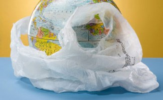 Globe in plastic bag