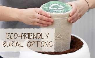 Person holding green urn: Eco Friendly Burial Options