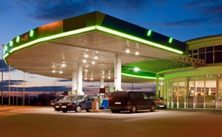 Green gas station