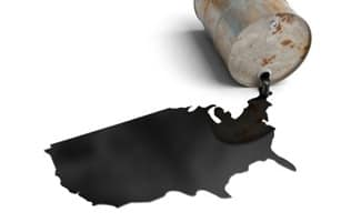 Oil leaking in the shape of the United States
