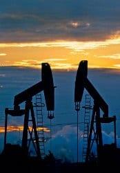 Oil pumpjack sunset