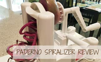 Raddish being spiralized: Paderno Spiralizer Reviews