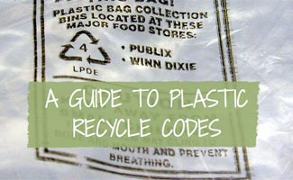 Guide to plastic recycle codes on top of bag