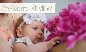 Baby looking at pink flowers in a box (caption: ProFlowers Review)