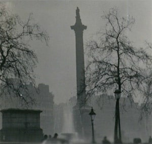 Historical photo of statute with Great Smog Of London