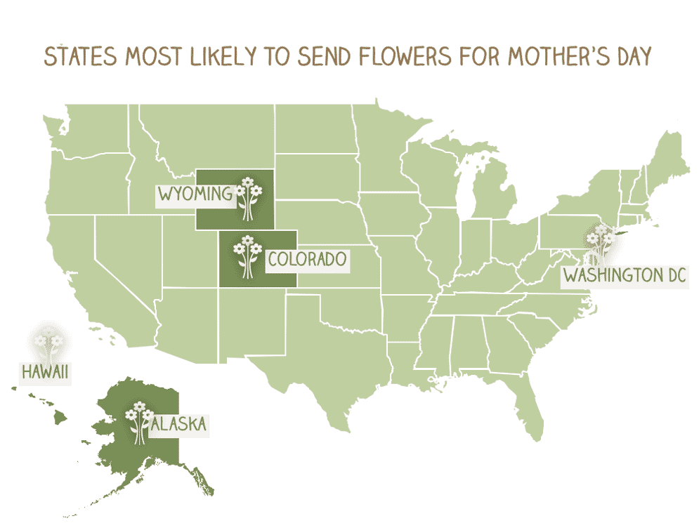 Map of states most likely to send flowers for Mother's Day