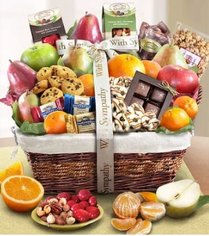 Sympathy Gift Basket with bow and fruit