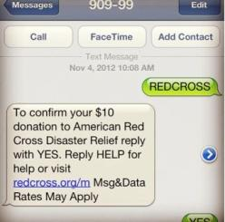 Text to donate to red cross